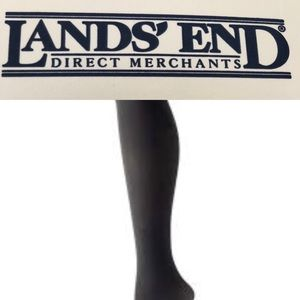 Lands End Womens Black Opaque Tights Small New